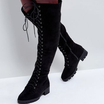 Truffle Collection Wide Fit Lace Up Over Knee Boot at asos.com