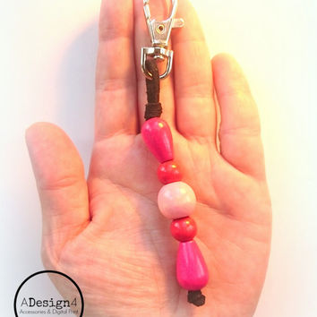 Wood Bead Key Ring - Geometric Key Ring - Wooden Eco-Friendly Keychain - Color Block Wood Handbag Charm - Beaded Bag Charm