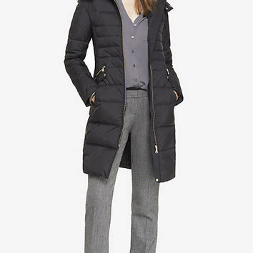 HOODED FAUX FUR TRIM FITTED PUFFER COAT from EXPRESS