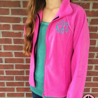 Monogrammed Full Zip Fleece Jacket, Monogram Jacket, Bridesmaid Gift, Sorority Gift, Monogrammed Jacket, Fleece Jacket