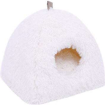 Modern White Soft and Fluffy Cat Cave Bed With Matching Cushion