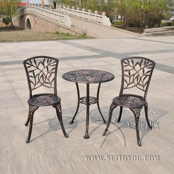 Outdoor Patio Garden Bistro Set Furniture 3PCS bamboo leaves Design cast Aluminum Porch Balcony Cafe Table Chairs Set