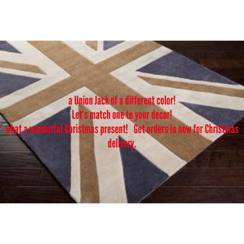 Custom color Area Rug, rugs, Drop Cloth, Floor mat,  union Jack, chalk paint, hand painted, rugs, carpet, Cottage chic