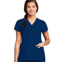 Grey's Anatomy Scrubs Junior Fit Womens 2 pocket Crossover Scrub Top 41101 Indigo