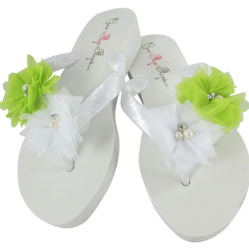 Lime Green & White Flower Wedding Flip Flops