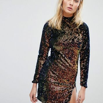 Motel Backless Bodycon Dress With High Neck In Velvet Sequin at asos.com