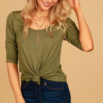 No Change 3/4 Sleeve Top Olive