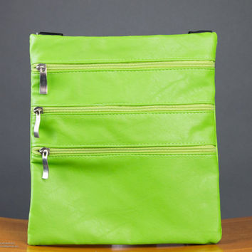 Lime Green Cross Body Messenger Handbag