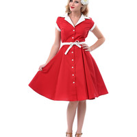 1940s Style Cabernet & White Diner Swing Dress - Unique Vintage - Prom dresses, retro dresses, retro swimsuits.