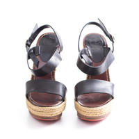 Black Leather Sandals with Wooden Heel
