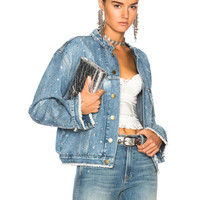 Alexandre Vauthier Crystal Studded Denim Jacket in Sky | FWRD