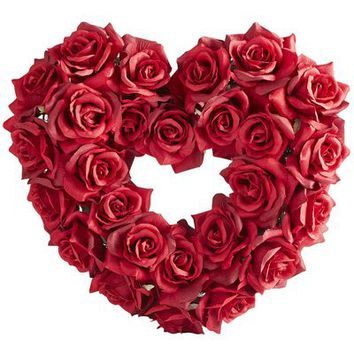 Faux Rose Heart Wreath - Red