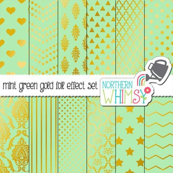 Mint Green and Gold Digital Paper Pack – gold foil effect papers for scrapbooking, invitations, web backgrounds – instant download – CU OK