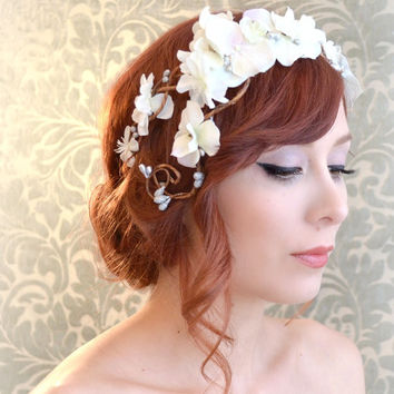 Boho wedding headband, flower crown, white bridal headpiece, whimsical wedding hair accessory
