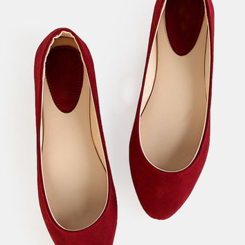 Faux Suede Almond Toe Flats BURGUNDY | MakeMeChic.COM