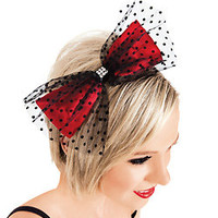 Swiss Dot Tulle & Red Satin Bow Headband - Style Number: LS201