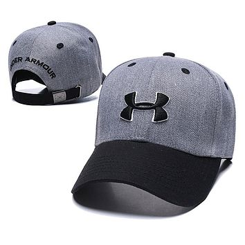 Under Armour Women Men Embroidery Sports Sun Hat Baseball Cap Hat Grey