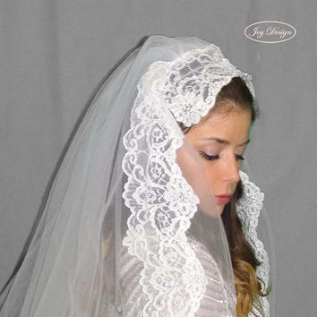JULIANNA is a Curated Vintage Never Worn White Tulle Fabric Double Bridal Veil with a Vintage White Pearl and Alencon Lace Head Piece