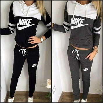"Cool ""NIKE"" Print Hoodies Top Sweater Pants Sweatpants Set Two-Piece Sportswear"