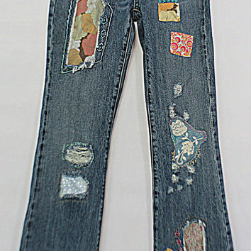 Miss Me Jeans / Upcycled Ripped Grunge Patched Frayed Jean / Tattered Artsy Clothing / Women Junior Fashion Denim / OOAK Clothes