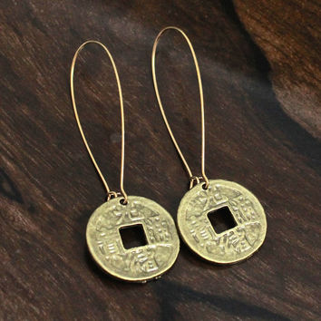Brass Chinese Replica Coin Earrings