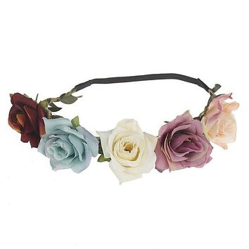 Women Vintage Handmade Medium Sized Cloth Flowers Headband