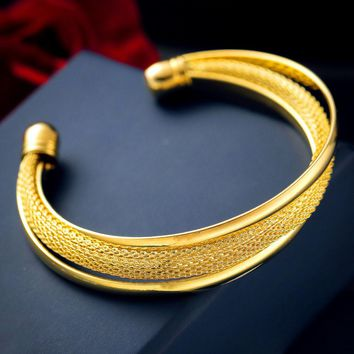 New Fashion Jewelry  Gold Womens Charm Bangle Bracelet Gift Gold