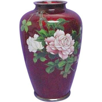 "Amazingly Detailed ""Pigeon Blood"" Ginbari Akasuke Cloisonne Vase with Roses on Sterling"