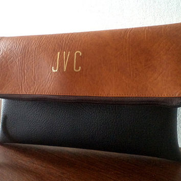 Two - tone personalized clutch / Bridesmaid gift / Monogram foldover clutch purse