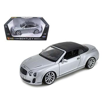 2012 2013 Bentley Continental Supersports Soft Top Silver 1/18 Diecast Car Model by Bburago