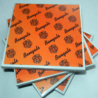 Cincinnati Bengal Ceramic Coasters, Set of Four
