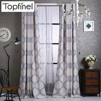 Top Finel Luxury Geometric Linen Curtains for Living Room Bedroom Home Fashion Window Curtains Blackout Curtain Draperies Panel