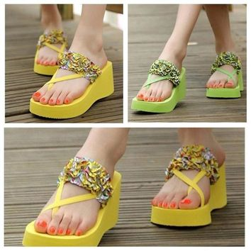 New Fashion Bohemian Slippers Stain Floral Wedge Heeled Flip Flops Summer High Platform Shoes Beach Flip Flop for Women = 5710706049