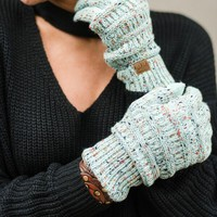 Knitted Texting Gloves - Confetti Mint