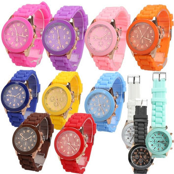 Candy jelly Color Wrist Watch Silicone Quartz Watchband = 1958343556