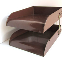 Vintage Brown Metal Desk top Organizer Brown