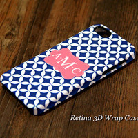 Blue and White Four-Leafs Custom Monogram 3D-Wrap iPhone 5S Case iPhone 5 Case iPhone 5C Case iPhone 4S Case iPhone 4 Case
