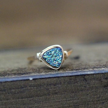 Triangle Druzy Ring (8mm) - Teal