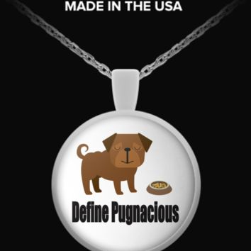 Define Pugnascious Cute Silver Pug Necklace Exclusive Design