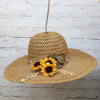 Sun hat hanging light cottage shabby chic lighting home decor unique floral flower