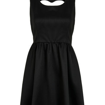 Black Heart Cut Out Bowknot Back Sleeveless Skater Dress