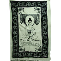 Twin Size White Buddhist Screen Printed Cotton Tapestry Wall Hanging