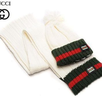 GUCCI Fashion Winter Knit Women Men Beanies Scarf &Cap White