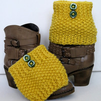 tweed knitted, yellow gold Boot cuff - Winter Leg warmers - Button Boot Socks - Knit leg warmers for her gift guide 2014 EmofoFashion.