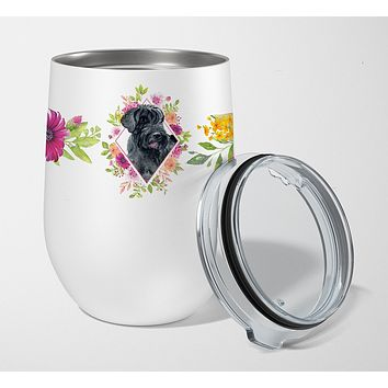 Giant Schnauzer Pink Flowers Stainless Steel 12 oz Stemless Wine Glass CK4178TBL12