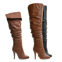 Focus33 Tan High heel Stretch Wrinkled Slouchy Dress Boots. Over-The-Knee Thigh High