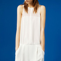 White Silky Chiffon Sleeveless Jumpsuit