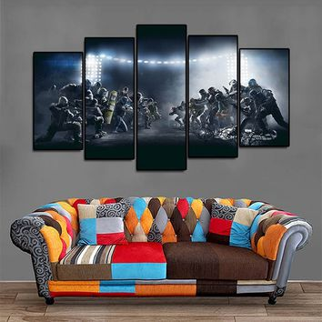 "Unframed 5 Pcs,Tom Clancys "" Rainbow Six Siege "".Art Pictures HD Modern Home Wall Decor Canvas Print Oil Painting. (Size:100cm b"