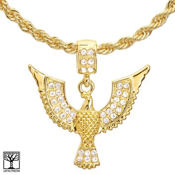 "Jewelry Kay style Men's 14K Gold Plated Flying Eagle Pendant 22"" / 24"" Chain Necklace HC 1150 G"