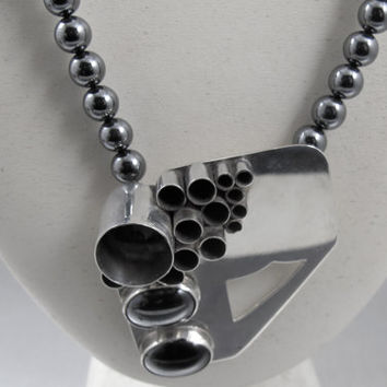 Sterling Modernist Necklace Signed PEC, Vintage Abstract Studio Artisan Pendant, Hematite Sterling Silver Bench Beads, Three Dimensional
